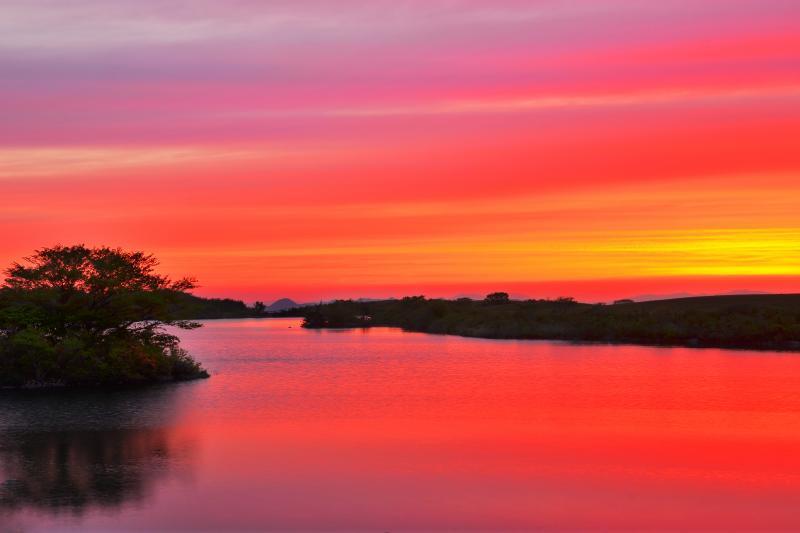 [ 長谷地溜池の朝 ]  上品な茜色に染まった夜明けでした。