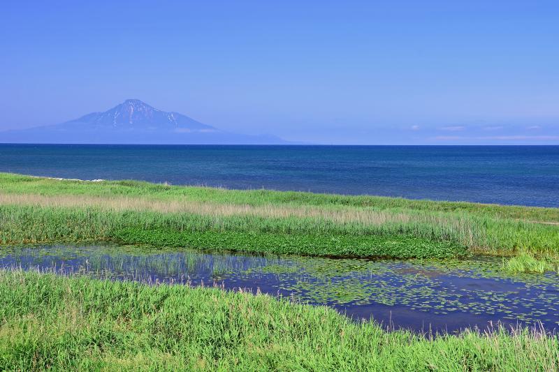 [ コウホネ沼と利尻富士 ]  コウホネ沼と利尻島。天塩から稚内にかけての県道106号線は遮るものが無く、ずっと海に浮かぶ利尻を見て走れる好景観道路。