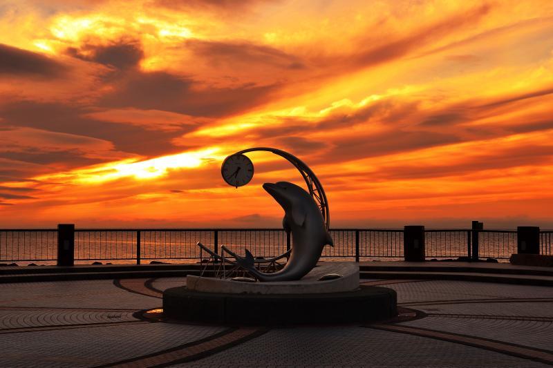 [ ノシャップ岬夕景 ]  夕焼け空が綺麗でした。