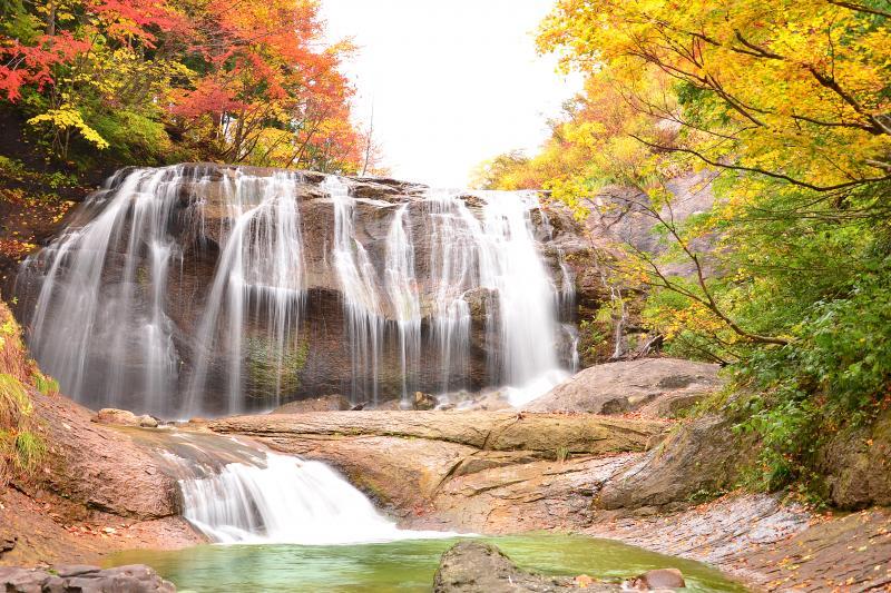 [ 白滝 ]  秋の白滝。下小池駐車場から徒歩約30分。紅葉の見頃は刈込池と同じ。一枚岩の花崗岩を幾重にも分かれて落ちる滝はまるで白糸のよう。