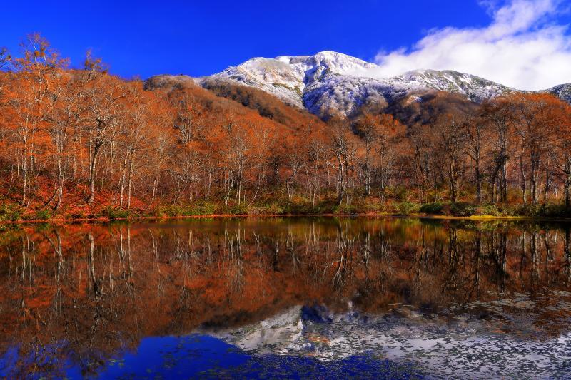 [ 三ノ峰の冠雪 ]  湖畔の秋に終わりを告げる白山三ノ峰の冠雪