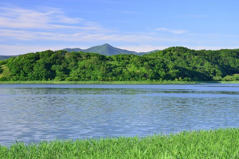 [ 久種湖と礼文岳。  ]  久種湖から見た礼文岳。 初夏の新緑と湖面から吹いてくるそよ風に心が和みました。