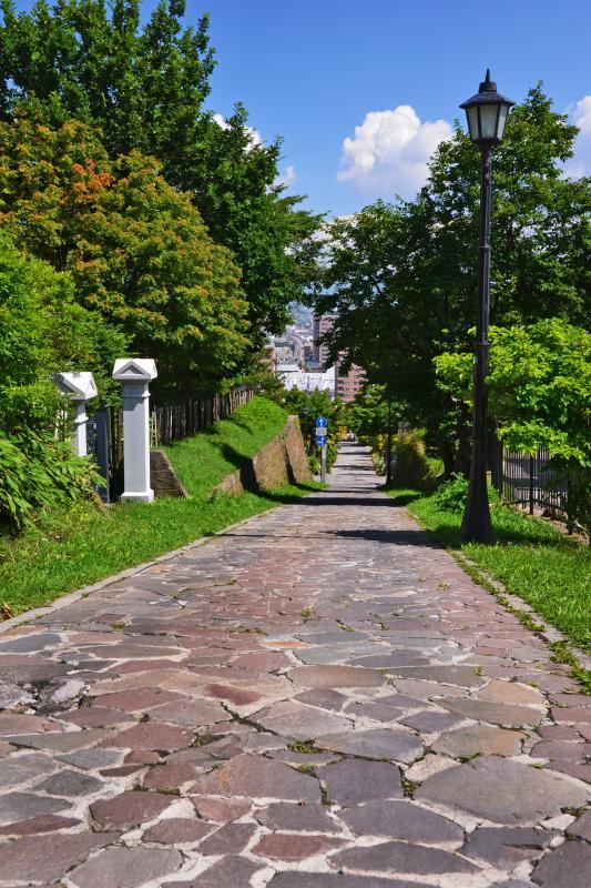 [ チャチャ登り ]  石畳の美しい急な坂道です。