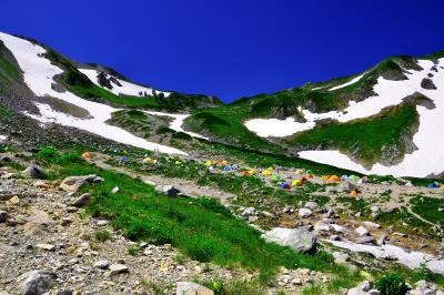 初夏の剣沢| 剣御前から登山道を下ると剣沢に着きます。美しい残雪と緑の中、色とりどりのテントが高原に咲く花のようでした。