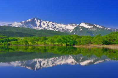 扇谷地溜池| 新緑と残雪の鳥海山が綺麗でした。