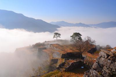 雲海に浮かぶ山城| 天守閣跡から眼下に見る雲海は迫力があります。