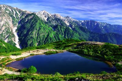 八方池俯瞰| 八方尾根の登山道からは池を俯瞰することもできる。谷間から湧き上がってくる雲海も期待できる。