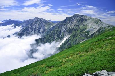 小蓮華山| 小蓮華山からは縦に連なる白馬三山が間近に迫り、信州側から湧き上がってくる雲海の迫力を楽しむことができます。