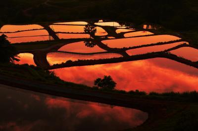 山古志の棚田| 山古志小学校の裏手に広がる棚田。水を入れたばかりの水田には夕焼雲が映りこんでいました。