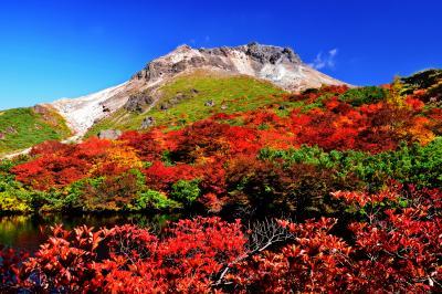 那須茶臼岳の紅葉| 姥ヶ平のひょうたん池から見た茶臼岳。満天星ツツジの紅葉が見事でした。