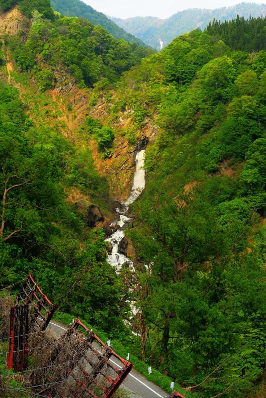 [ 松尾川「尾丸の滝」 ]  水量が豊富な雪解けの時期に現れる幻の滝。断崖を流れ下り松尾川が中谷川に合流します。午後になると深い谷に光が差し込みます。