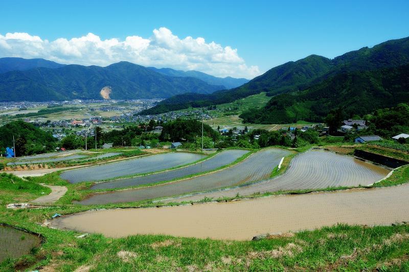 [ 戸倉上山田方面 ]  戸倉上山田方面は山に囲まれた地形になっています。