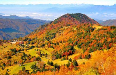 ミニチュア| 山田牧場を俯瞰すると紅葉した樹木が模型のように見えます。眼下に広がる善光寺平、遠くには北アルプス。