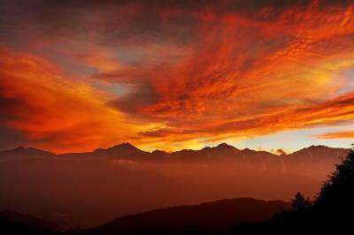 北アルプスの夕焼け|