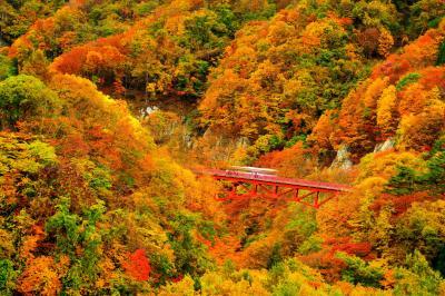 松川渓谷 錦秋| 松川渓谷の入り口、谷深いV字谷に架かる紅い橋。秋の定番撮影ポイント