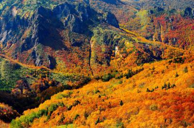 [ 紅葉の信州 高山村 ]  巨大な岩山、複雑な地形、植生の境界線、ダケカンバの原生林。日本離れした光景が広がります。